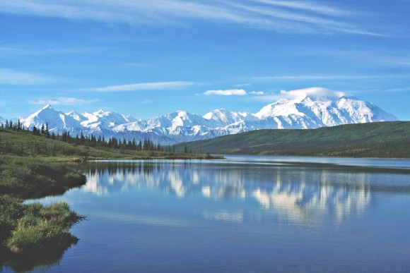 Mount McKinley and Wonder Lake, Denali National Park, Alaska. Photo by BillC, Creative Commons