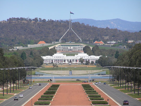 The Parliament buildings in Canberra, Australia by Brendan Ashton