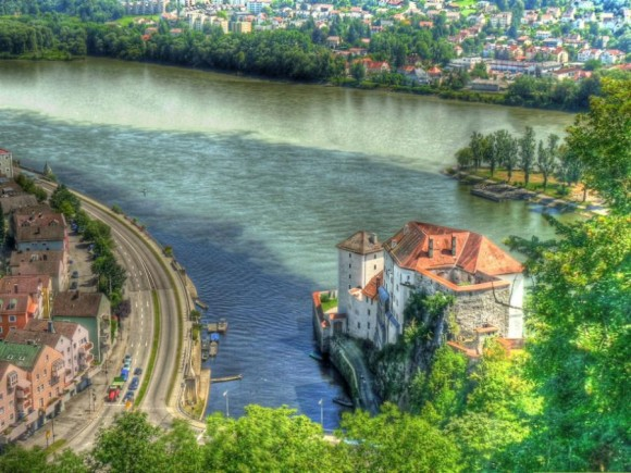 Passau Confluence of the Ilz, Danube, and Inn River (Creative Commons)